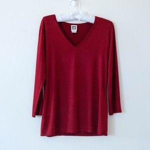 Anne Klein Rust V-Neck 3/4 Sleeve Sweater